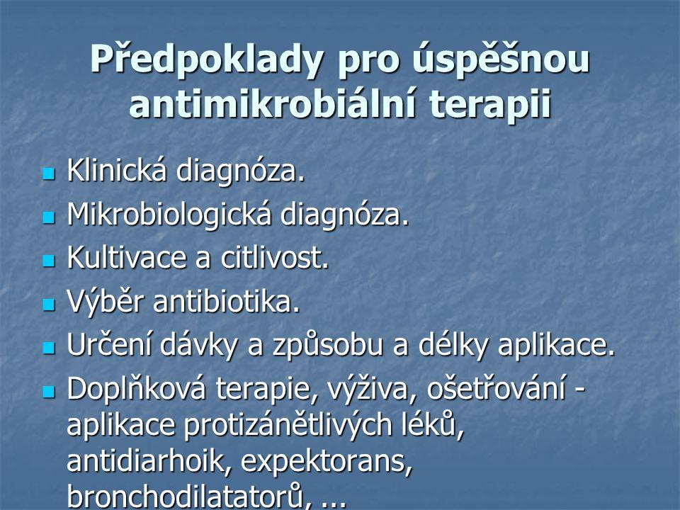Předpoklady pro úspěšnou antimikrobiální terapii Klinická diagnóza. Klinická diagnóza. Mikrobiologická diagnóza. Mikrobiologická diagnóza. Kultivace a