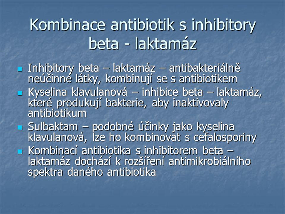 Kombinace antibiotik s inhibitory beta - laktamáz Inhibitory beta – laktamáz – antibakteriálně neúčinné látky, kombinují se s antibiotikem Inhibitory