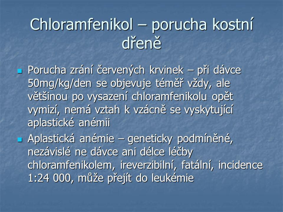 Chloramfenikol – porucha kostní dřeně Porucha zrání červených krvinek – při dávce 50mg/kg/den se objevuje téměř vždy, ale většinou po vysazení chloram