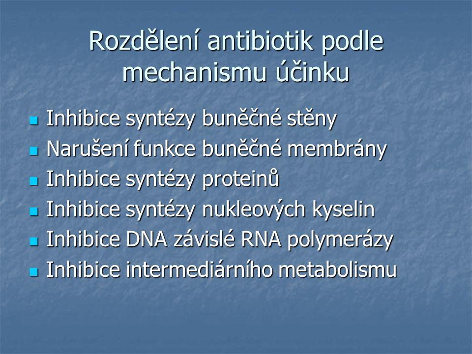 Rozdělení antibiotik podle mechanismu účinku Inhibice syntézy buněčné stěny Inhibice syntézy buněčné stěny Narušení funkce buněčné membrány Narušení f