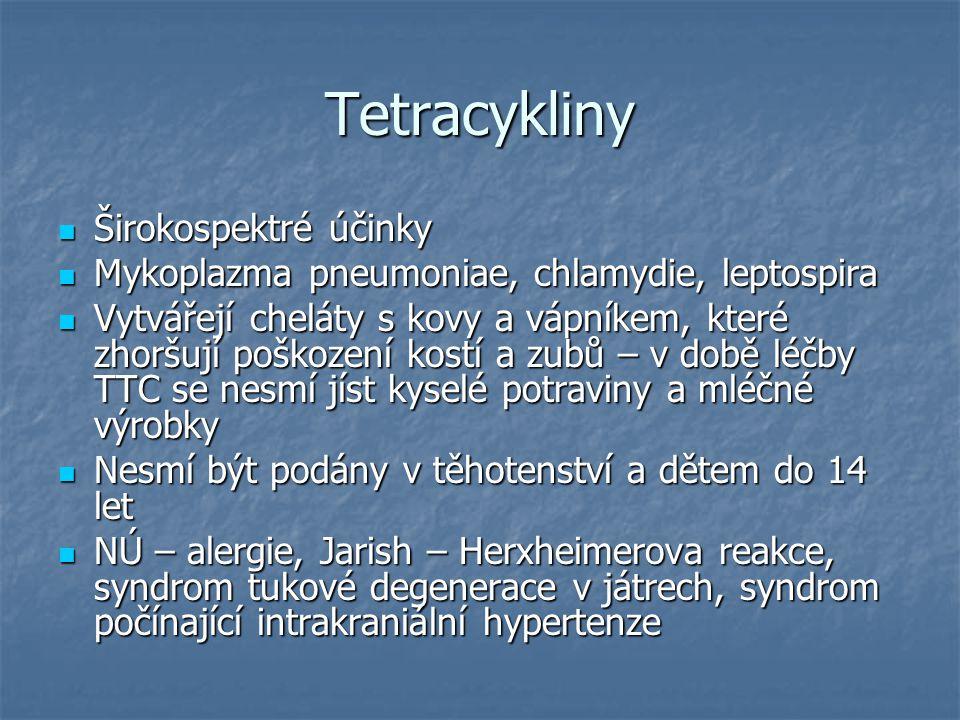 Tetracykliny Širokospektré účinky Širokospektré účinky Mykoplazma pneumoniae, chlamydie, leptospira Mykoplazma pneumoniae, chlamydie, leptospira Vytvá