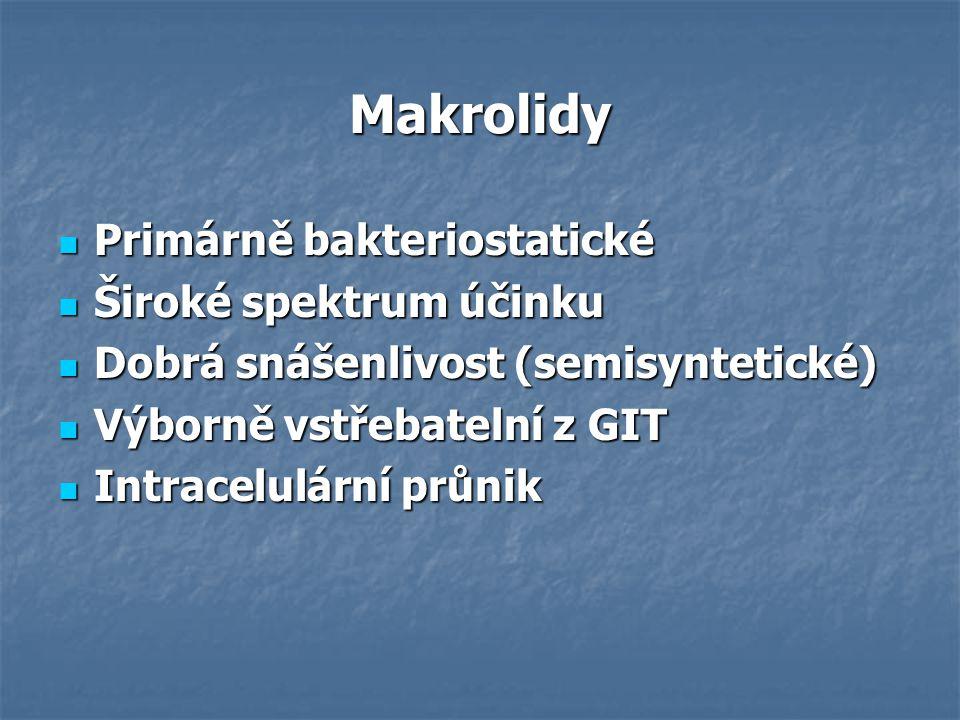Makrolidy Primárně bakteriostatické Primárně bakteriostatické Široké spektrum účinku Široké spektrum účinku Dobrá snášenlivost (semisyntetické) Dobrá