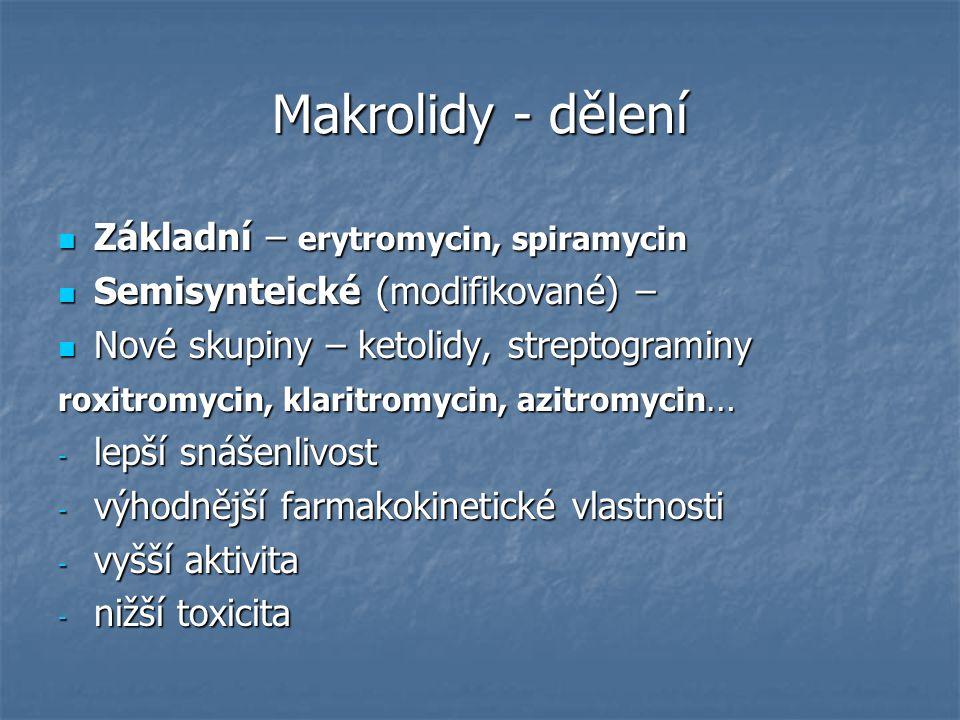 Makrolidy - dělení Základní – erytromycin, spiramycin Základní – erytromycin, spiramycin Semisynteické (modifikované) – Semisynteické (modifikované) –