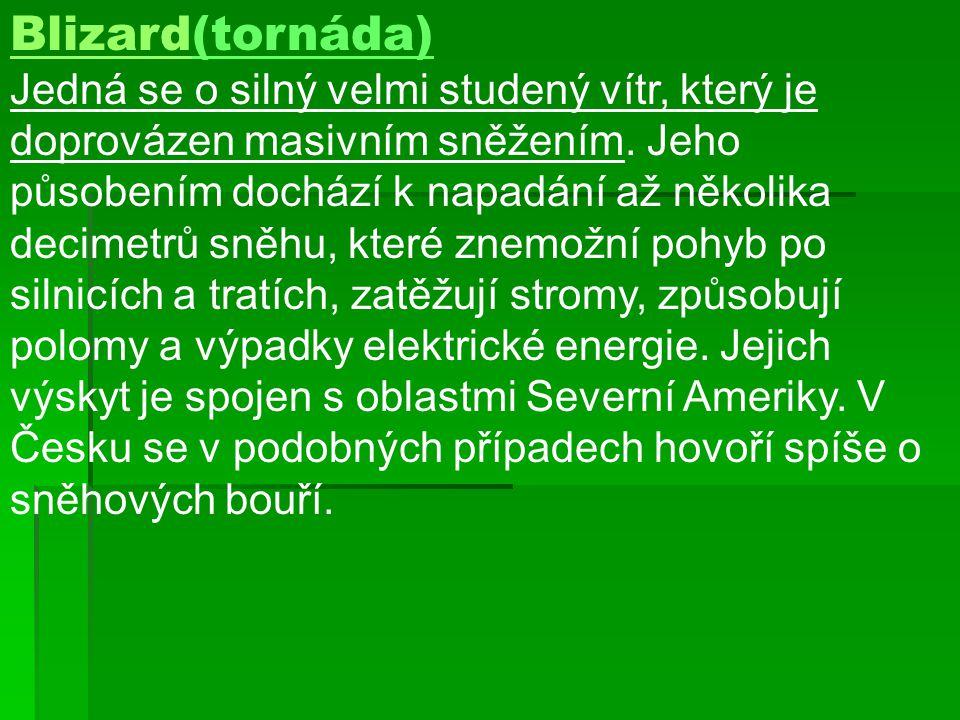 BlizardBlizard(tornáda) Jedná se o silný velmi studený vítr, který je doprovázen masivním sněžením.