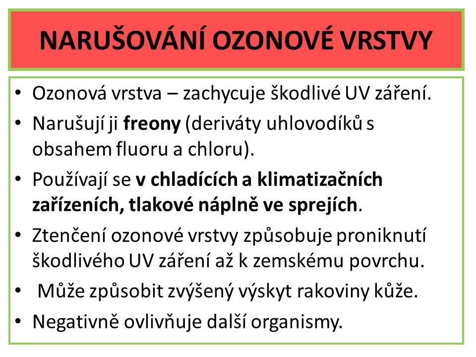 NARUŠOVÁNÍ OZONOVÉ VRSTVY Ozonová vrstva – zachycuje škodlivé UV záření. Narušují ji freony (deriváty uhlovodíků s obsahem fluoru a chloru). Používají