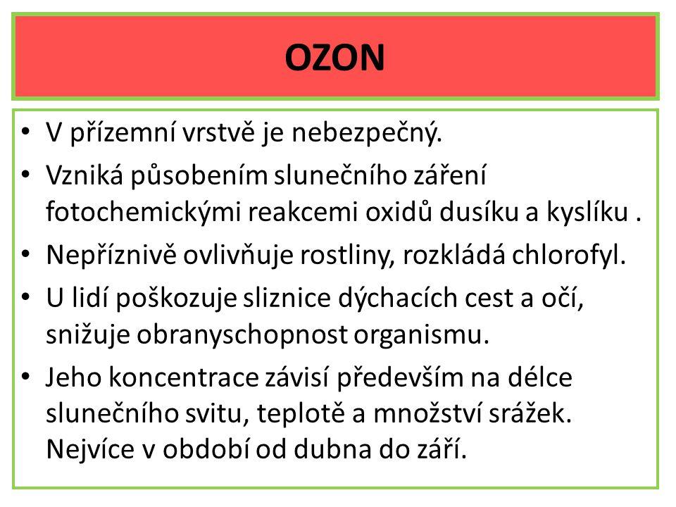 OZON V přízemní vrstvě je nebezpečný. Vzniká působením slunečního záření fotochemickými reakcemi oxidů dusíku a kyslíku. Nepříznivě ovlivňuje rostliny