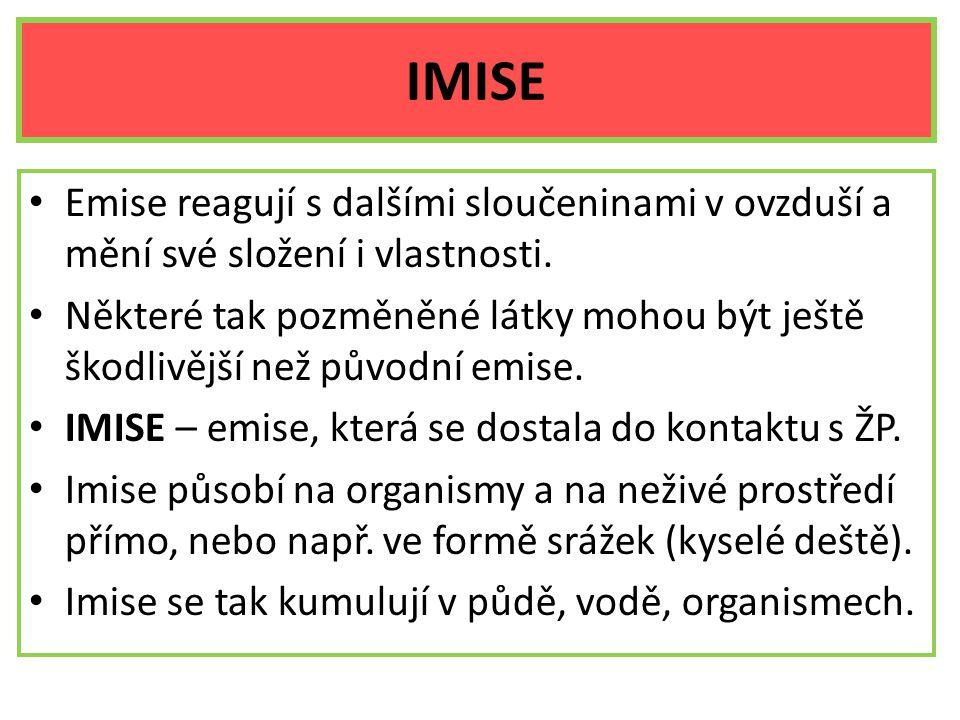 IMISE Emise reagují s dalšími sloučeninami v ovzduší a mění své složení i vlastnosti. Některé tak pozměněné látky mohou být ještě škodlivější než půvo