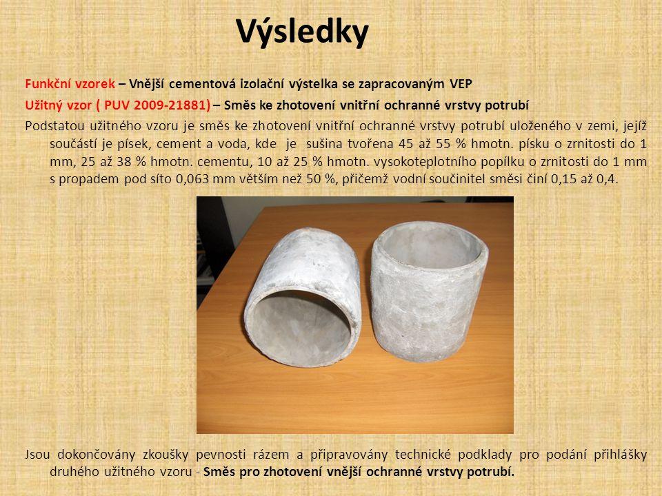 Výsledky Funkční vzorek – Vnější cementová izolační výstelka se zapracovaným VEP Užitný vzor ( PUV 2009-21881) – Směs ke zhotovení vnitřní ochranné vr