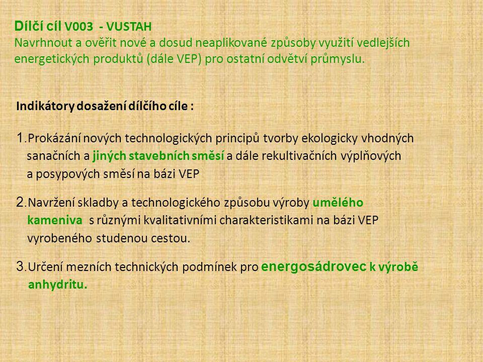 Cíle VUSTAH v rámci řešení CVVP v letech 2010-2011 Dílčí cíl V002 - Navrhnout strojně technologické způsoby sdružené výroby umělého kameniva a suchých maltových i omítkových směsí na bázi VEP Očekávané výsledky : Navržení strojně technologického způsobu sdružené výroby umělého kameniva za studena (UKS) a suchých pojivových směsí (S P S) na bázi VEP.