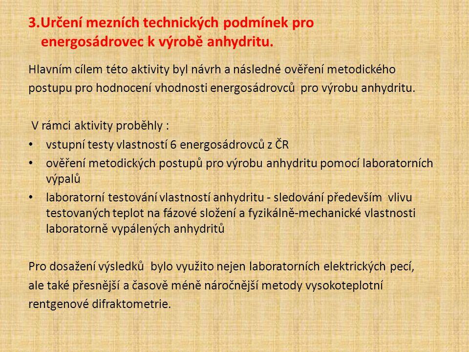 3.Určení mezních technických podmínek pro energosádrovec k výrobě anhydritu. Hlavním cílem této aktivity byl návrh a následné ověření metodického post