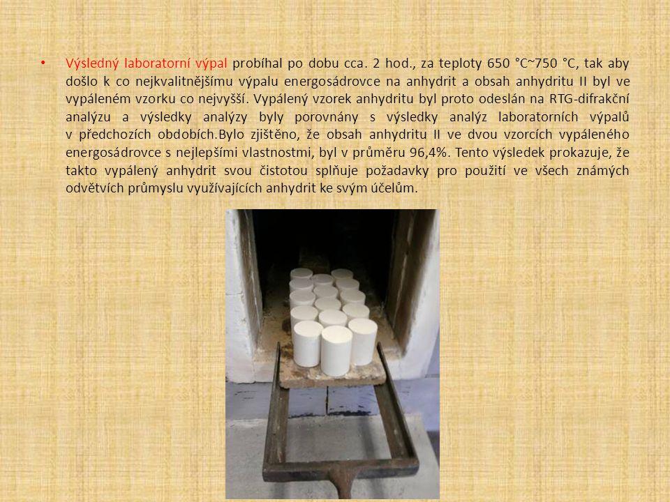 Výsledný laboratorní výpal probíhal po dobu cca. 2 hod., za teploty 650 °C~750 °C, tak aby došlo k co nejkvalitnějšímu výpalu energosádrovce na anhydr