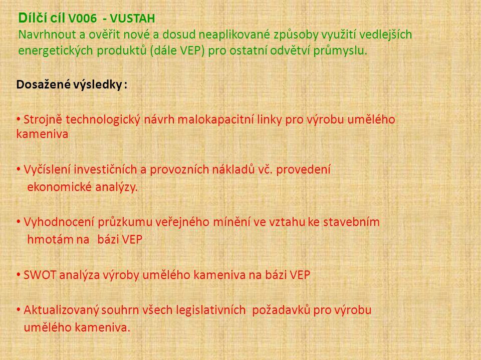 Dílčí cíl V006 - VUSTAH Navrhnout a ověřit nové a dosud neaplikované způsoby využití vedlejších energetických produktů (dále VEP) pro ostatní odvětví