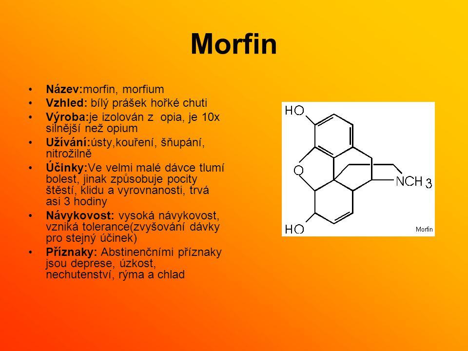 Morfin Název:morfin, morfium Vzhled: bílý prášek hořké chuti Výroba:je izolován z opia, je 10x silnější než opium Užívání:ústy,kouření, šňupání, nitro