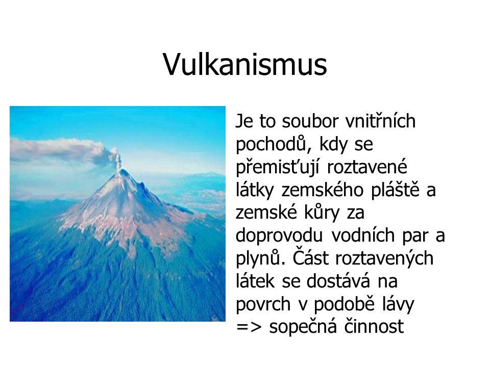 Vulkanismus Je to soubor vnitřních pochodů, kdy se přemisťují roztavené látky zemského pláště a zemské kůry za doprovodu vodních par a plynů.