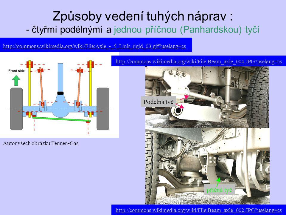 Způsoby vedení tuhých náprav : - čtyřmi podélnými a jednou příčnou (Panhardskou) tyčí Autor všech obrázku Tennen-Gas Podélná tyč http://commons.wikime