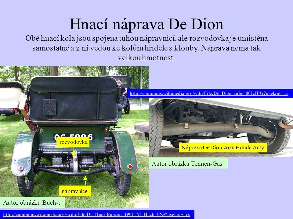 Hnací náprava De Dion Obě hnací kola jsou spojena tuhou nápravnicí, ale rozvodovka je umistěna samostatně a z ní vedou ke kolům hřídele s klouby. Nápr