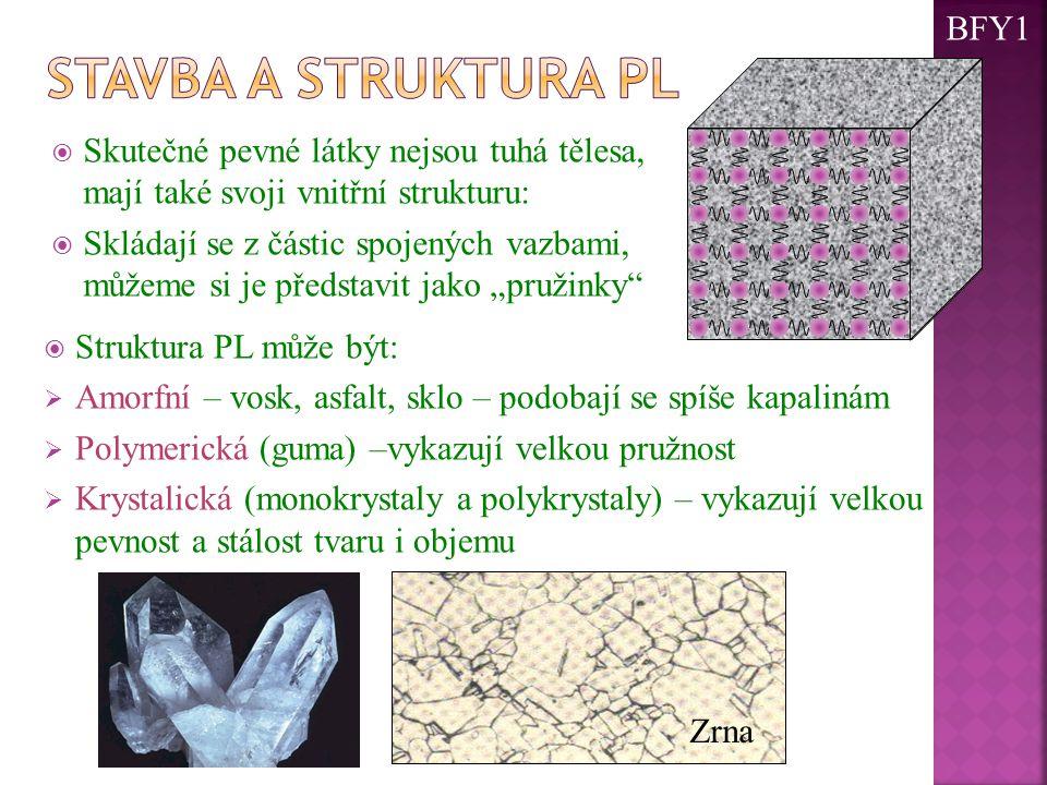 """ Skutečné pevné látky nejsou tuhá tělesa, mají také svoji vnitřní strukturu:  Skládají se z částic spojených vazbami, můžeme si je představit jako """"pružinky  Struktura PL může být:  Amorfní – vosk, asfalt, sklo – podobají se spíše kapalinám  Polymerická (guma) –vykazují velkou pružnost  Krystalická (monokrystaly a polykrystaly) – vykazují velkou pevnost a stálost tvaru i objemu Zrna BFY1"""