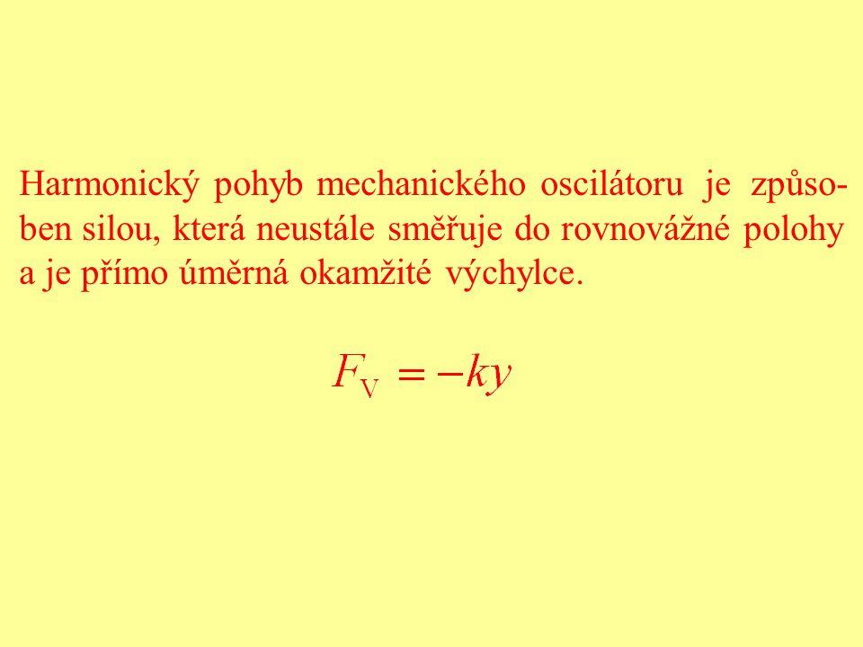 Harmonický pohyb mechanického oscilátoru je způso- ben silou, která neustále směřuje do rovnovážné polohy a je přímo úměrná okamžité výchylce.