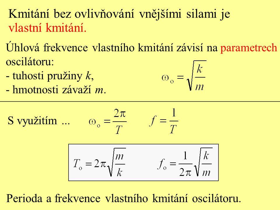 Úhlová frekvence vlastního kmitání závisí na parametrech oscilátoru: - tuhosti pružiny k, - hmotnosti závaží m.