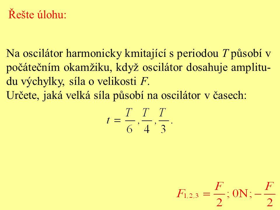 Na oscilátor harmonicky kmitající s periodou T působí v počátečním okamžiku, když oscilátor dosahuje amplitu- du výchylky, síla o velikosti F.