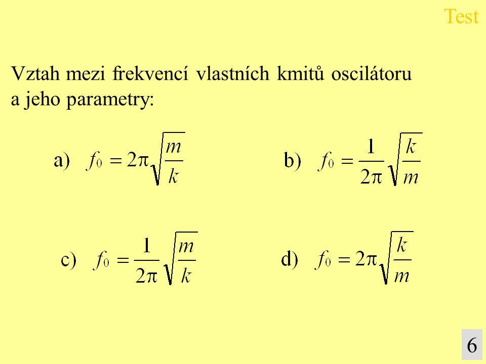 Vztah mezi frekvencí vlastních kmitů oscilátoru a jeho parametry: Test 6