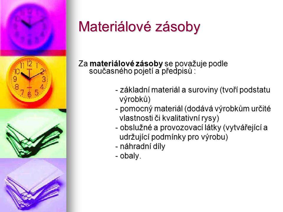 Materiálové zásoby Za materiálové zásoby se považuje podle současného pojetí a předpisů : - základní materiál a suroviny (tvoří podstatu - základní ma