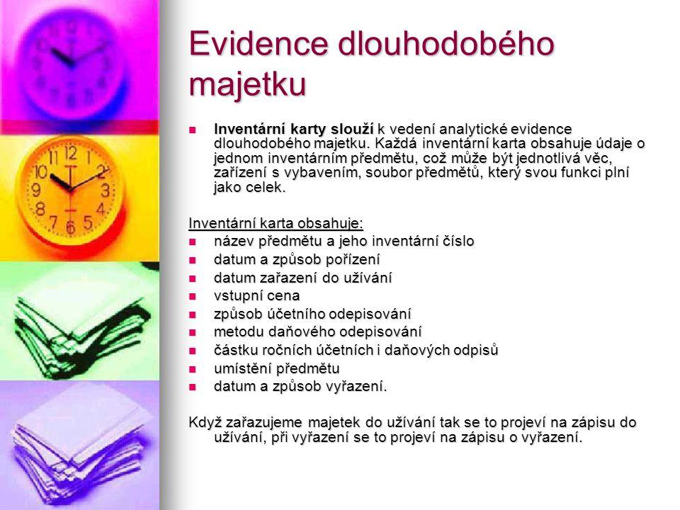 Evidence dlouhodobého majetku Inventární karty slouží k vedení analytické evidence dlouhodobého majetku. Každá inventární karta obsahuje údaje o jedno