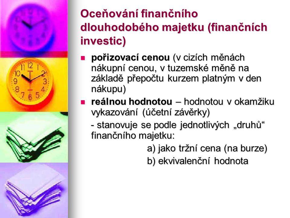 Oceňování finančního dlouhodobého majetku (finančních investic) pořizovací cenou (v cizích měnách nákupní cenou, v tuzemské měně na základě přepočtu k