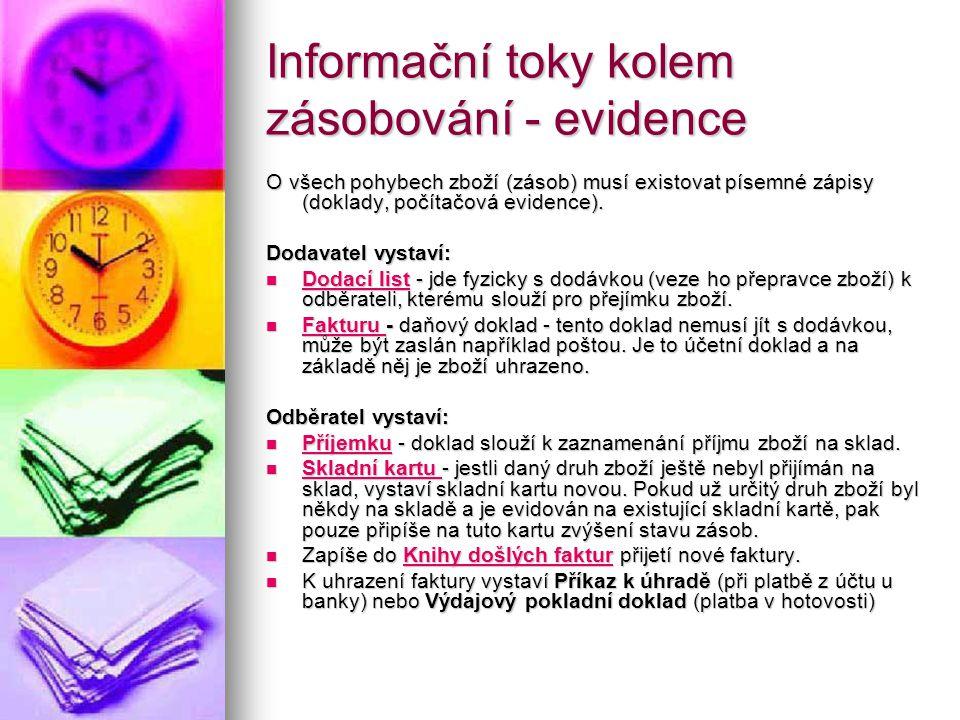 Informační toky kolem zásobování - evidence O všech pohybech zboží (zásob) musí existovat písemné zápisy (doklady, počítačová evidence). Dodavatel vys