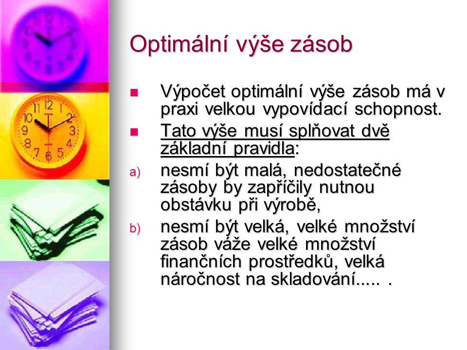Optimální výše zásob Výpočet optimální výše zásob má v praxi velkou vypovídací schopnost. Výpočet optimální výše zásob má v praxi velkou vypovídací sc