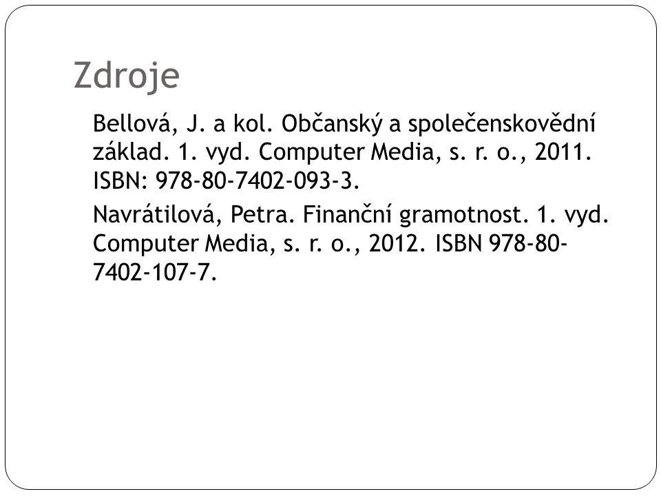 Zdroje Bellová, J. a kol. Občanský a společenskovědní základ. 1. vyd. Computer Media, s. r. o., 2011. ISBN: 978-80-7402-093-3. Navrátilová, Petra. Fin