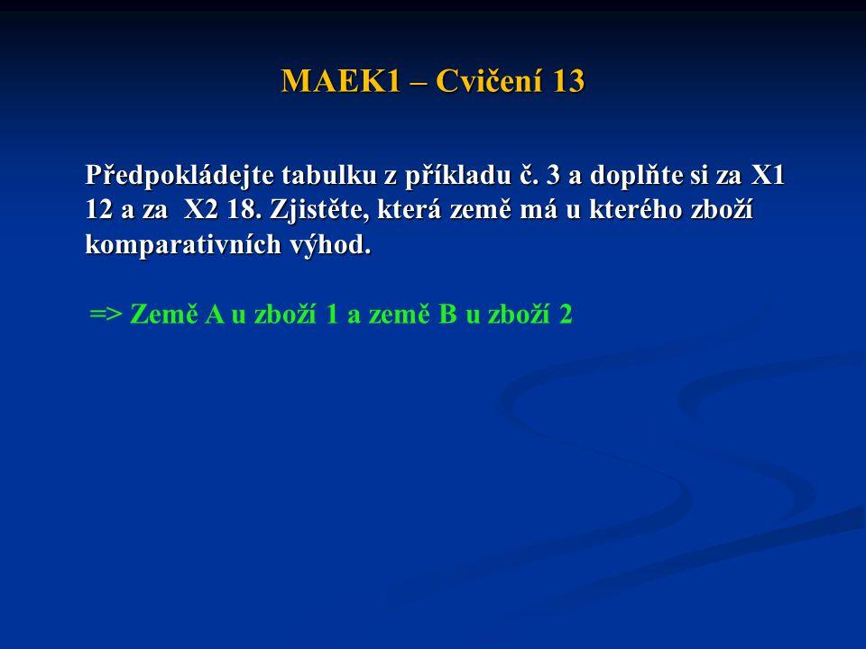 MAEK1 – Cvičení 13 Předpokládejte tabulku z příkladu č. 3 a doplňte si za X1 12 a za X2 18. Zjistěte, která země má u kterého zboží komparativních výh