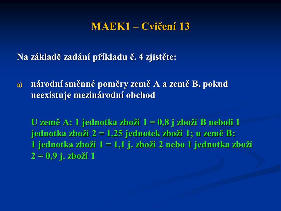 MAEK1 – Cvičení 13 Na základě zadání příkladu č. 4 zjistěte: a) národní směnné poměry země A a země B, pokud neexistuje mezinárodní obchod U země A: 1
