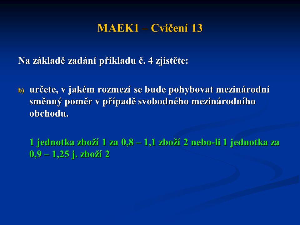 MAEK1 – Cvičení 13 Na základě zadání příkladu č. 4 zjistěte: b) určete, v jakém rozmezí se bude pohybovat mezinárodní směnný poměr v případě svobodnéh