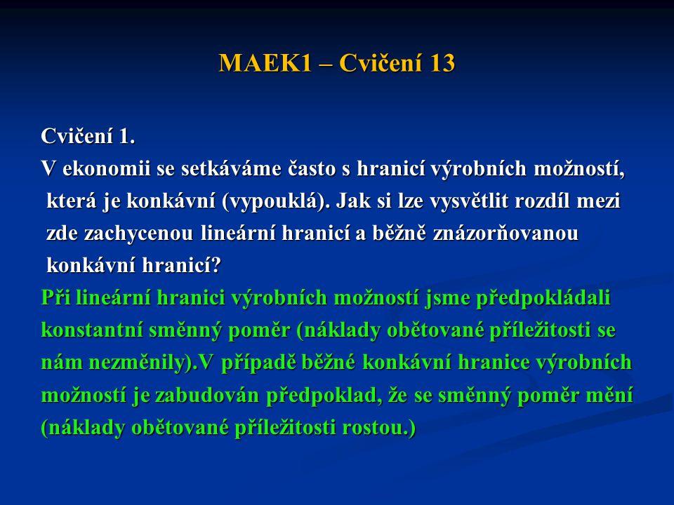 MAEK1 – Cvičení 13 Cvičení 1. V ekonomii se setkáváme často s hranicí výrobních možností, která je konkávní (vypouklá). Jak si lze vysvětlit rozdíl me