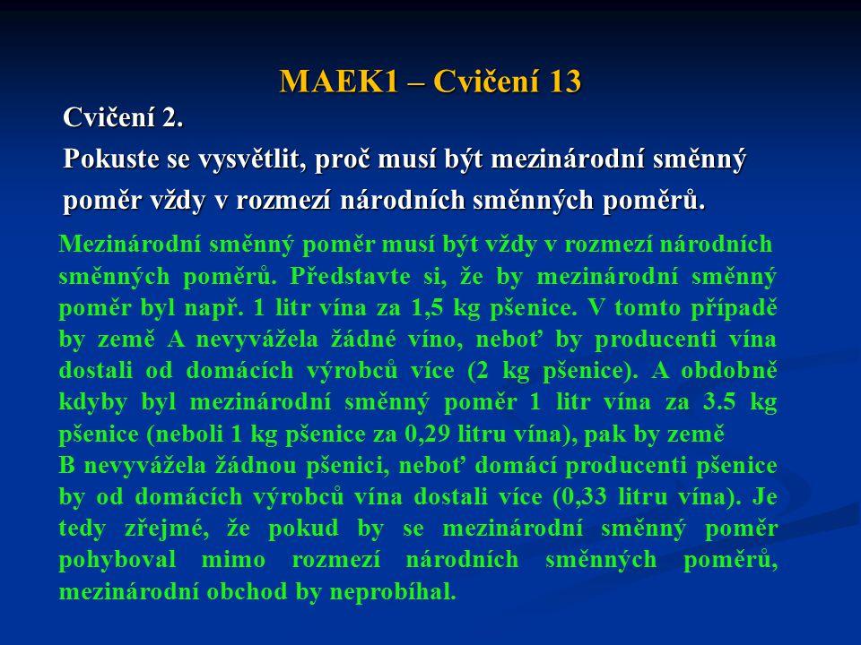 MAEK1 – Cvičení 13 Cvičení 2. Pokuste se vysvětlit, proč musí být mezinárodní směnný poměr vždy v rozmezí národních směnných poměrů. Mezinárodní směnn