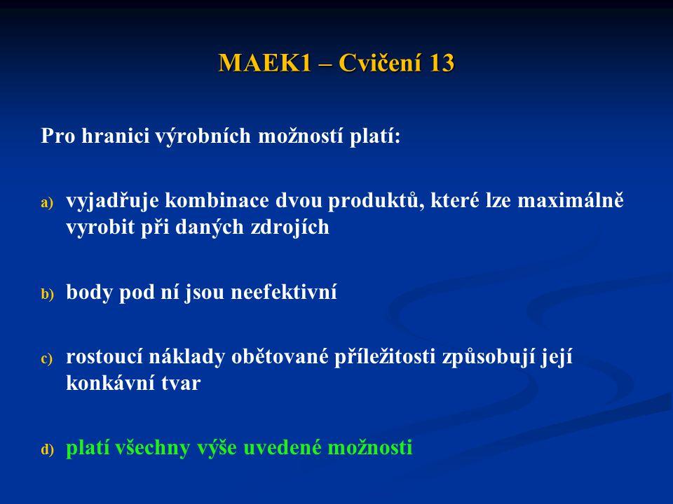 MAEK1 – Cvičení 13 V následující tabulce jsou zachyceny neúplné údaje o potřebě Hodin práce k výrobě jedné jednotky zboží: Doplňte tuto tabulku tak, aby: a) země A měla absolutní výhodu u obou zboží b) země B měla absolutní výhodu u zboží 2 c) mezi zeměmi nemohl probíhat mezinárodní obchod na základě absolutních a komparativních výhod Zboží 1Zboží 2 Země AX115 Země B20X2