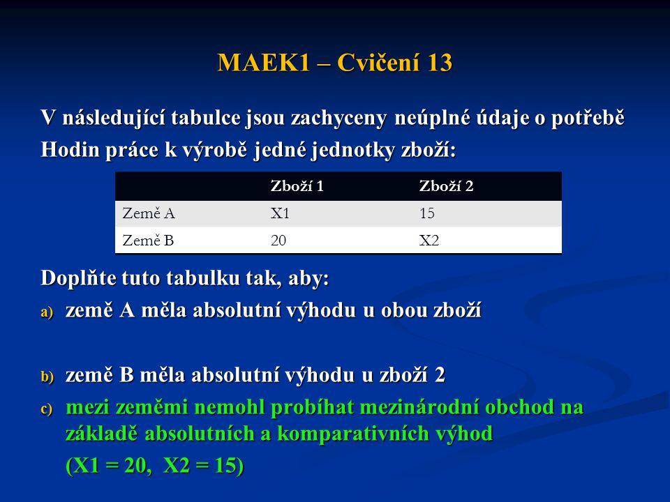 MAEK1 – Cvičení 13 V následující tabulce jsou zachyceny neúplné údaje o potřebě Hodin práce k výrobě jedné jednotky zboží: Doplňte tuto tabulku tak, a