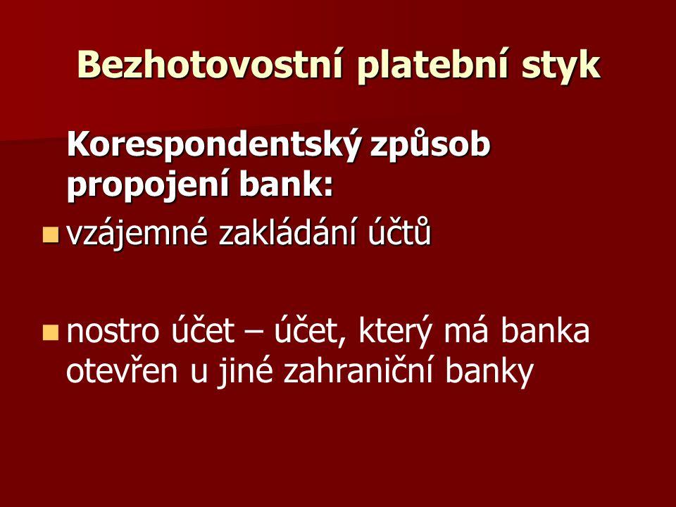 Bezhotovostní platební styk Korespondentský způsob propojení bank: vzájemné zakládání účtů vzájemné zakládání účtů nostro účet – účet, který má banka