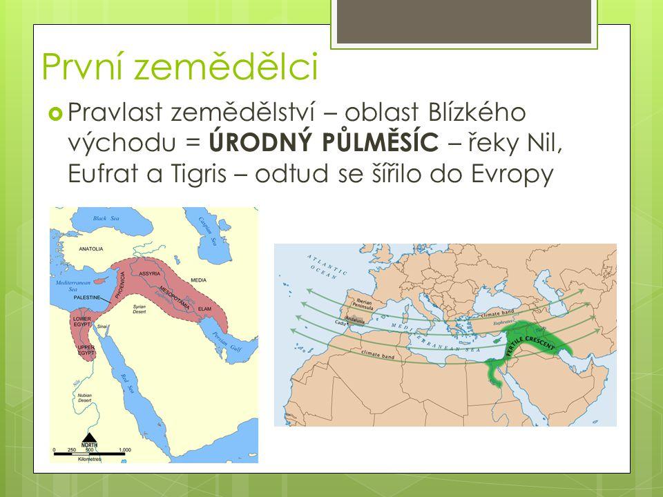 První zemědělci  Pravlast zemědělství – oblast Blízkého východu = ÚRODNÝ PŮLMĚSÍC – řeky Nil, Eufrat a Tigris – odtud se šířilo do Evropy