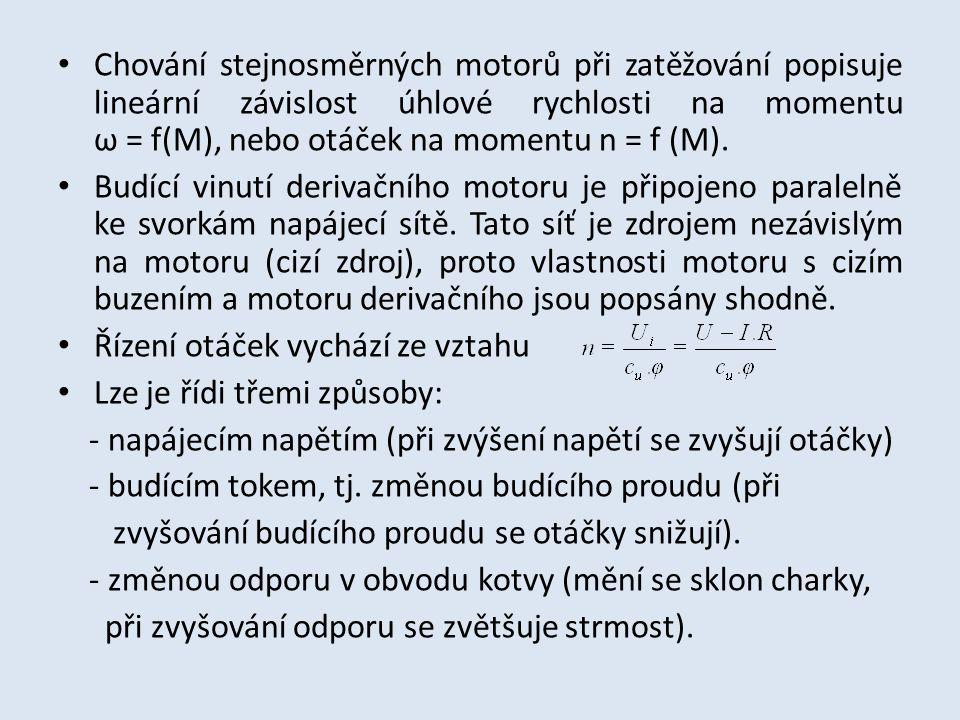 Chování stejnosměrných motorů při zatěžování popisuje lineární závislost úhlové rychlosti na momentu ω = f(M), nebo otáček na momentu n = f (M). Budíc