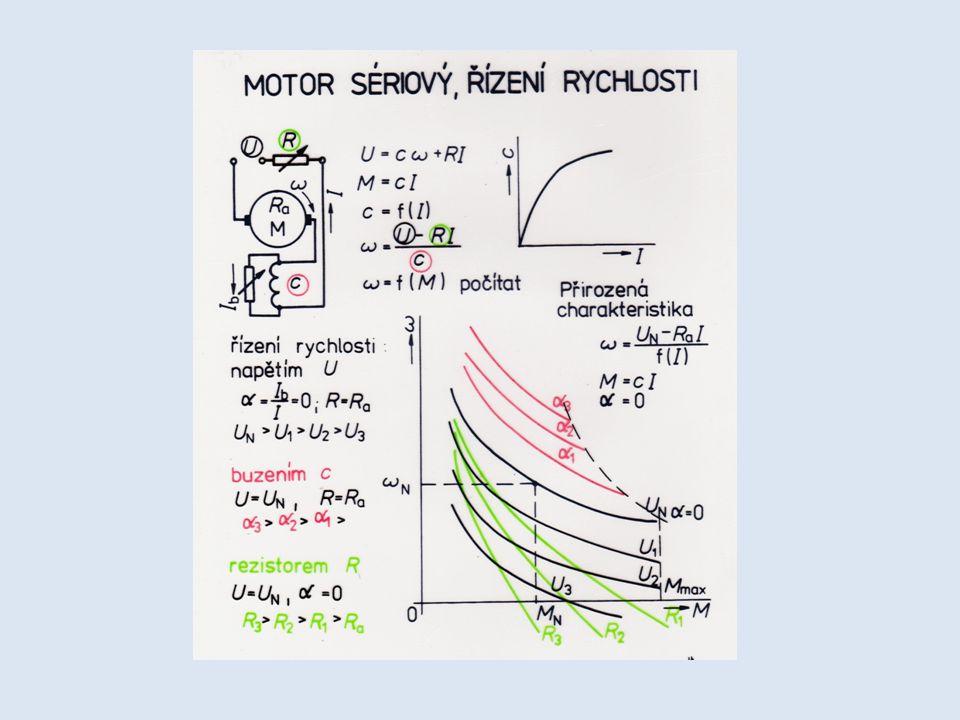 Charakteristiky sériového motoru se blíží hyperbole, teoreticky se otáčky mohou řídit stejnými způsoby, jako u předchozího motoru: - napětím – při snižujícím se napětí se otáčky snižují.