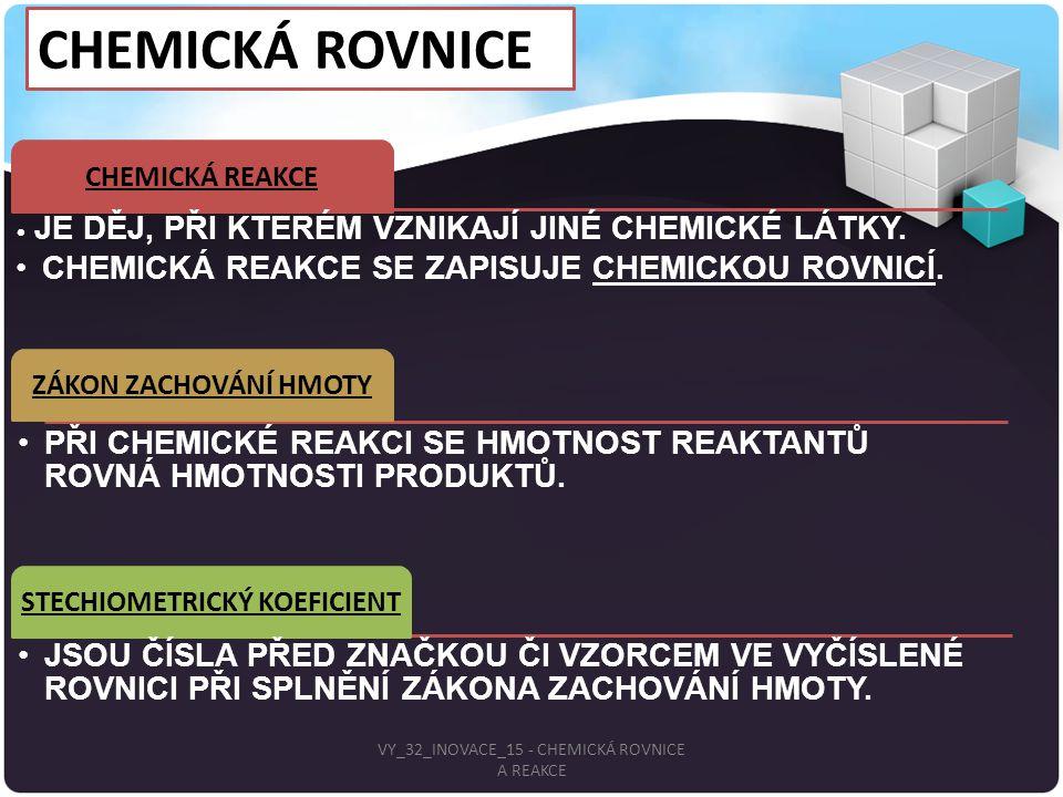 CHEMICKÁ ROVNICE. CHEMICKÁ REAKCE JE DĚJ, PŘI KTERÉM VZNIKAJÍ JINÉ CHEMICKÉ LÁTKY. CHEMICKÁ REAKCE SE ZAPISUJE CHEMICKOU ROVNICÍ. ZÁKON ZACHOVÁNÍ HMOT