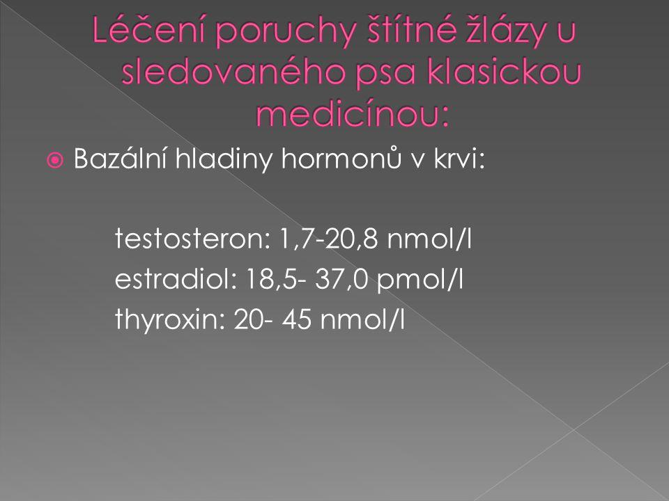  Bazální hladiny hormonů v krvi: testosteron: 1,7-20,8 nmol/l estradiol: 18,5- 37,0 pmol/l thyroxin: 20- 45 nmol/l