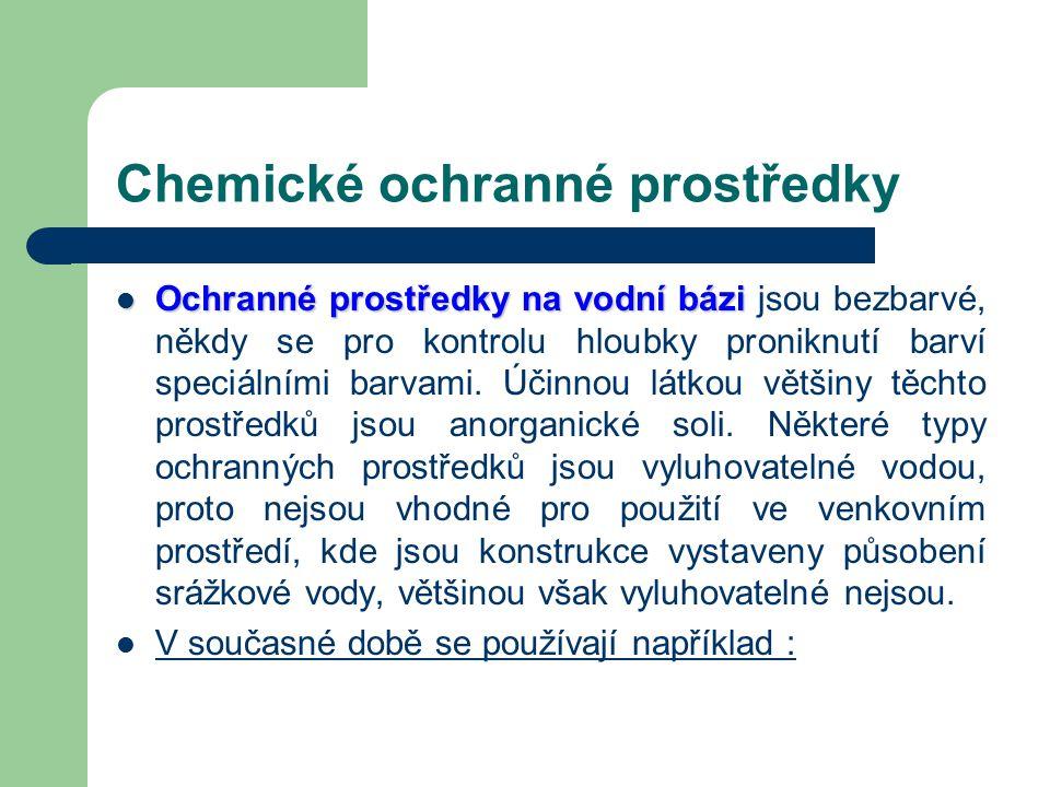 Chemické ochranné prostředky Podle chemického složení na látky : –A–Anorganické, vyrobené na bázi různých minerálních solí a látky –O–Organické na báz