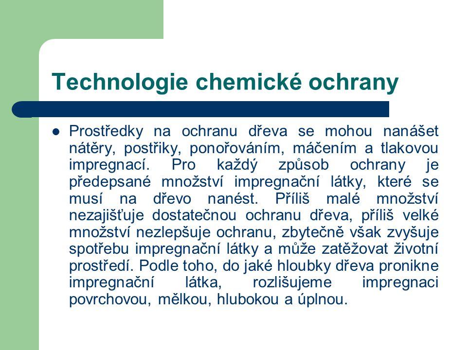 Chemické ochranné prostředky Použití pro venkovní nebo vnitřní konstrukce závisí na druhu ochranného prostředku a v návodu na použití těchto prostředk