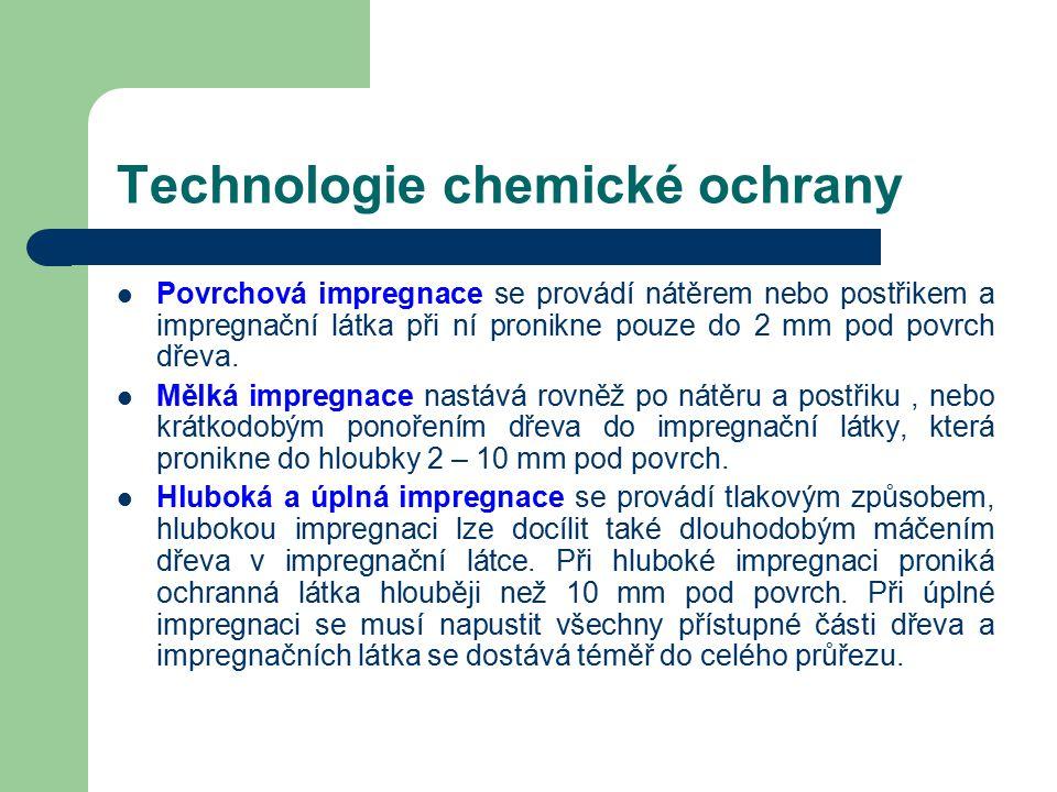 Technologie chemické ochrany Prostředky na ochranu dřeva se mohou nanášet nátěry, postřiky, ponořováním, máčením a tlakovou impregnací.