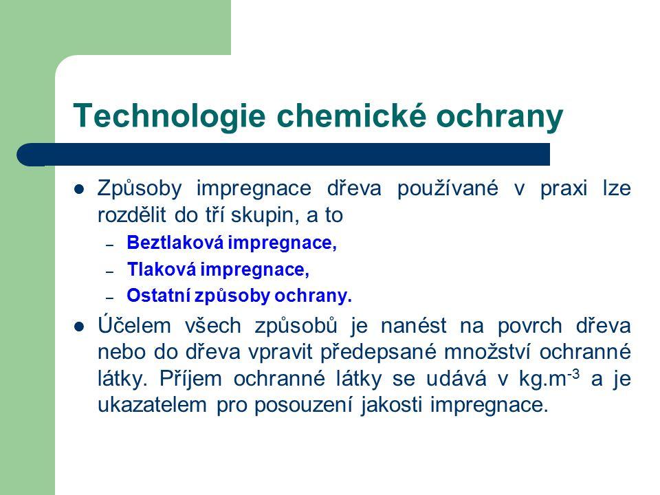 Technologie chemické ochrany Hloubky průniku impregnační látky –A–A – povrchová impregnace- do 2 mm pod povrch –B–B – mělká impregnace- 2 – 10 mm pod povrch –C–C – hluboká impregnace- více než 10 mm pod povrch –D–D – úplná impregnace
