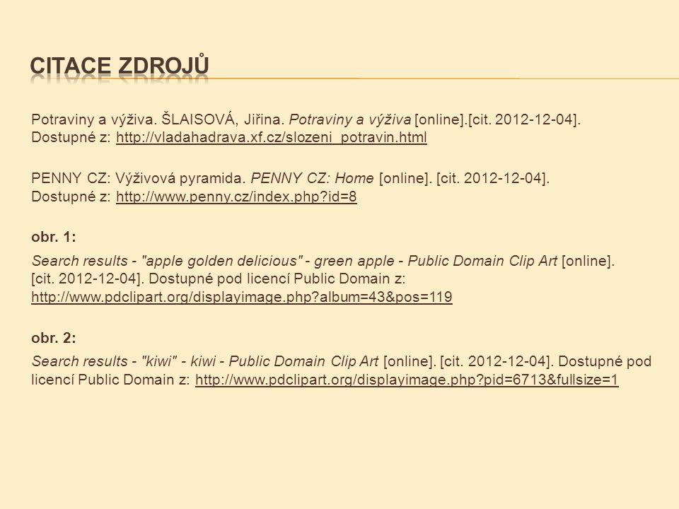 Potraviny a výživa. ŠLAISOVÁ, Jiřina. Potraviny a výživa [online].[cit. 2012-12-04]. Dostupné z: http://vladahadrava.xf.cz/slozeni_potravin.htmlhttp:/