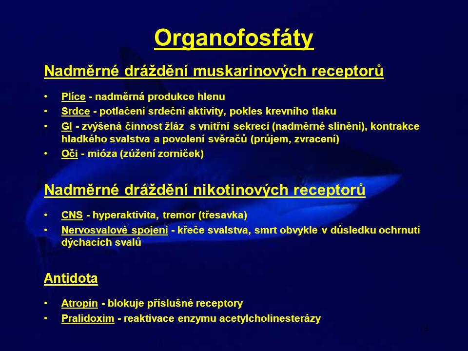 18 Organofosfáty Nadměrné dráždění muskarinových receptorů Plíce - nadměrná produkce hlenu Srdce - potlačení srdeční aktivity, pokles krevního tlaku G
